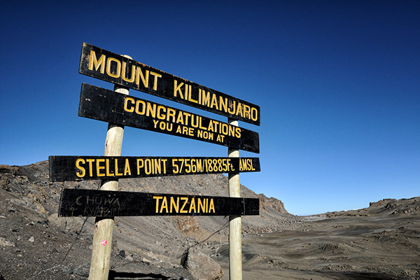 Stella point Kilimanjaro sign