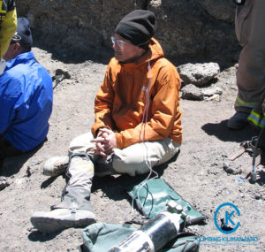 client using oxygen on kilimanjaro